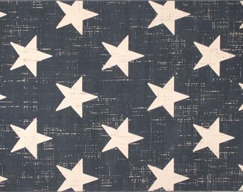 星柄デザインラグ ブルー