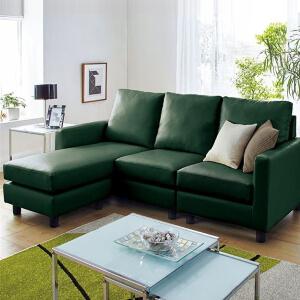 緑のレザーソファー